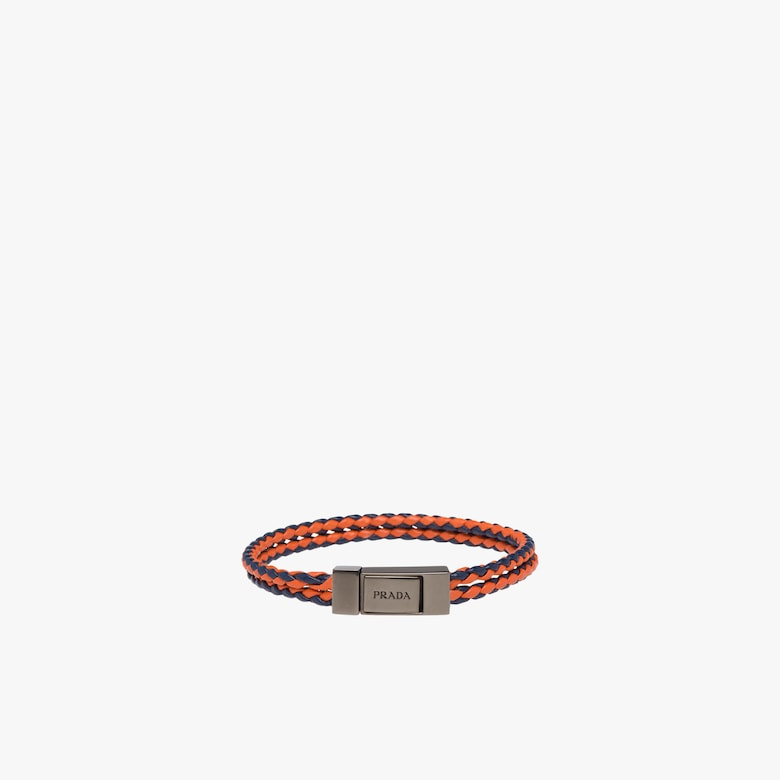 Braided leather wrist strap