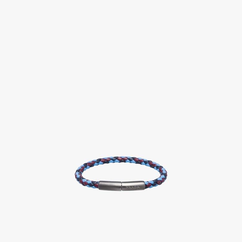 Braided leather wrist strap