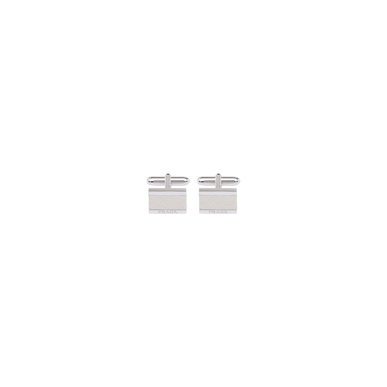 Silver and Saffiano leather cufflinks