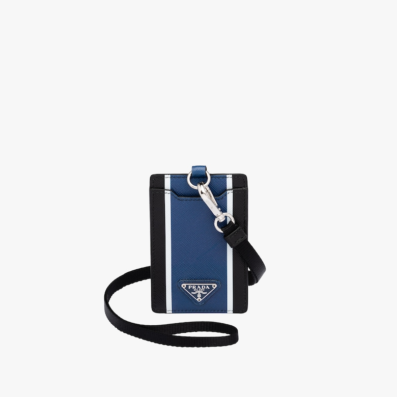 Saffiano leather badge holder
