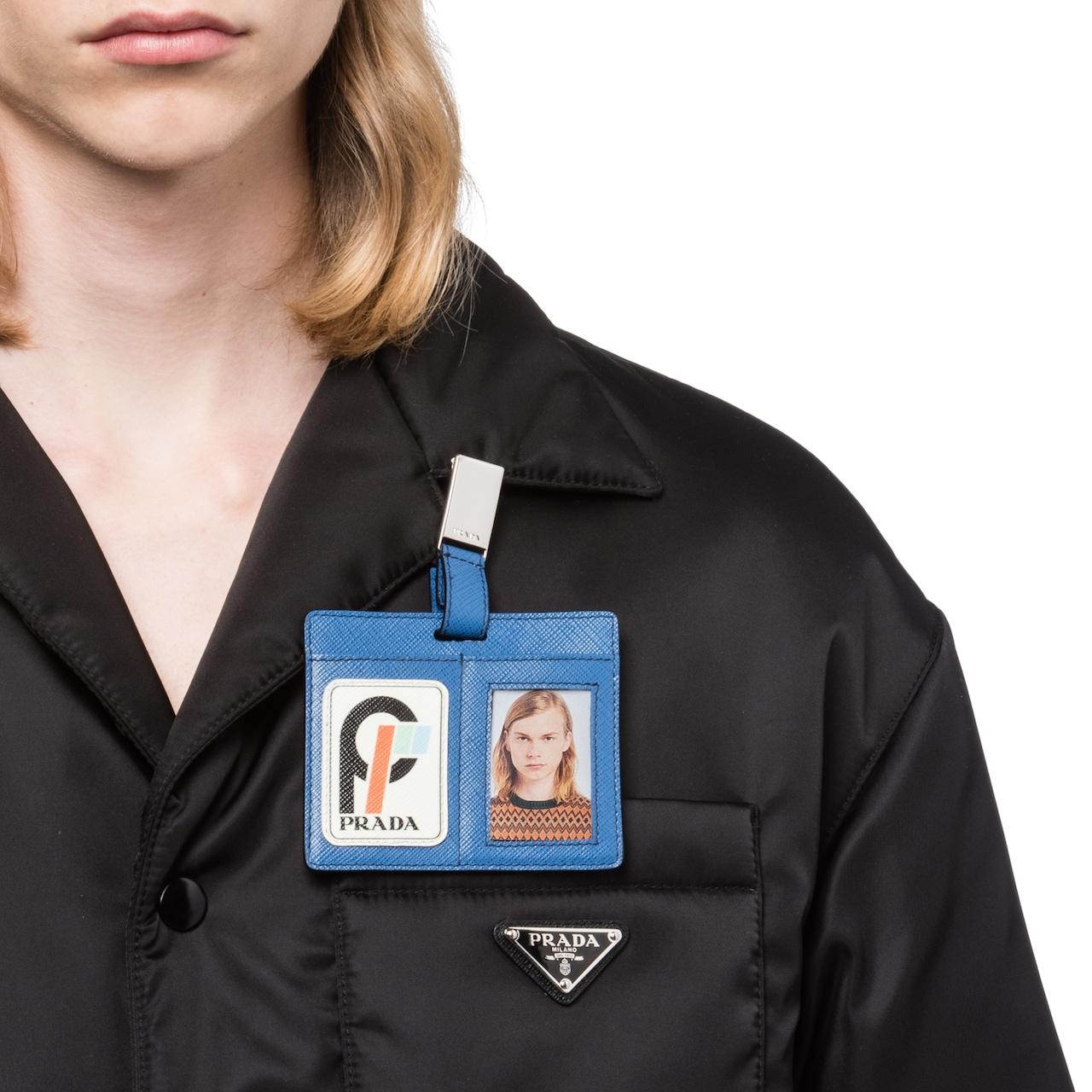 Saffiano leather badge holder