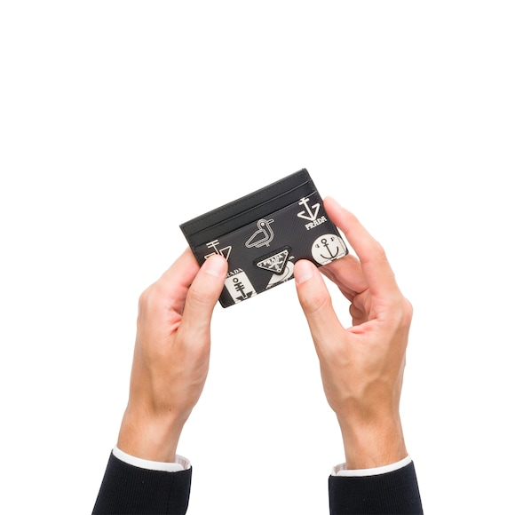 Porte-cartes en cuir Saffiano imprimé