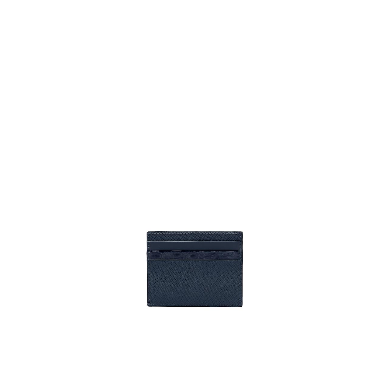 Prada Saffiano and crocodile leather card holder 3