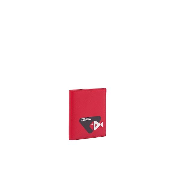 Portefeuille en cuir Saffiano imprimé