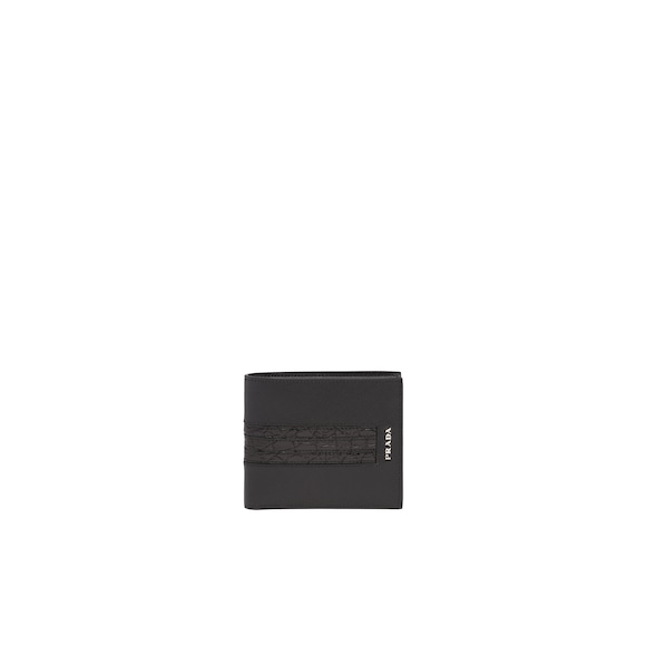 Saffiano and crocodile leather wallet