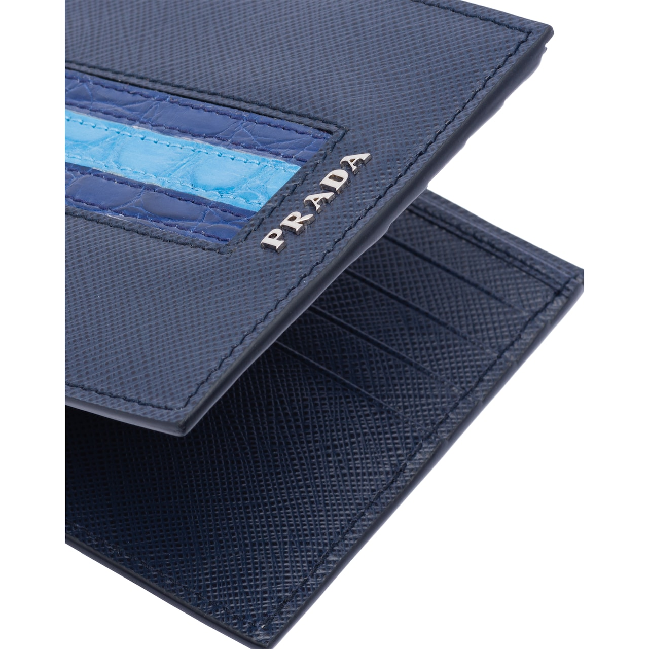 Prada Saffiano and crocodile leather wallet 6