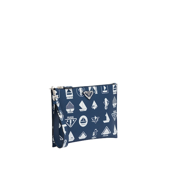 Printed Saffiano leather pouch