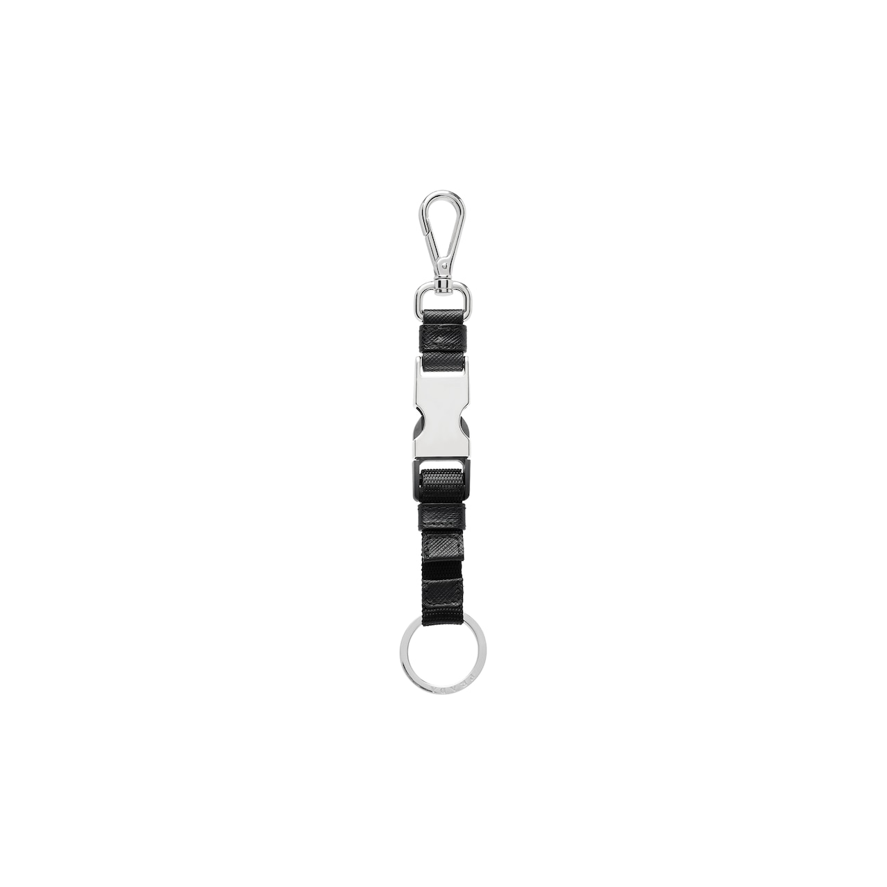 Saffiano Leather and fabric Keychain 3