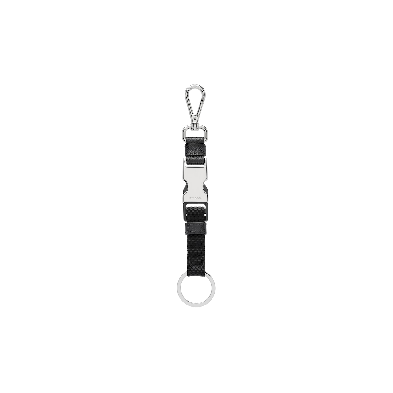 Saffiano Leather and fabric Keychain