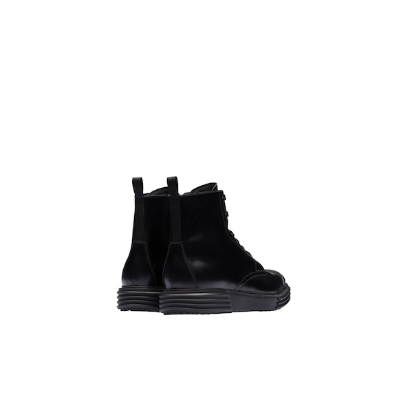 Opaque leather laced booties