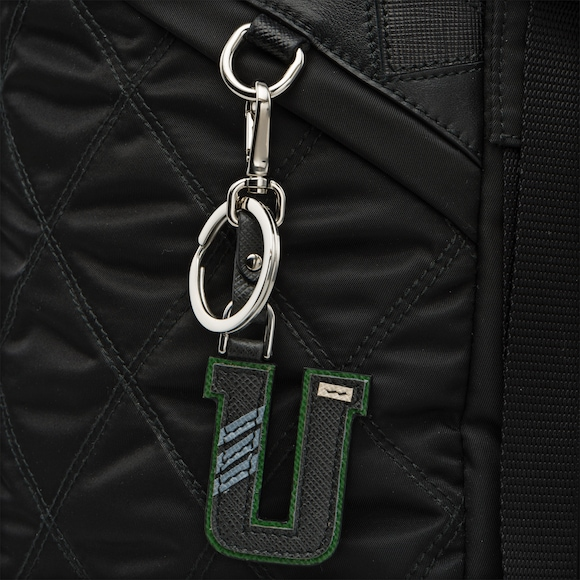 Saffiano leather Trick keyring