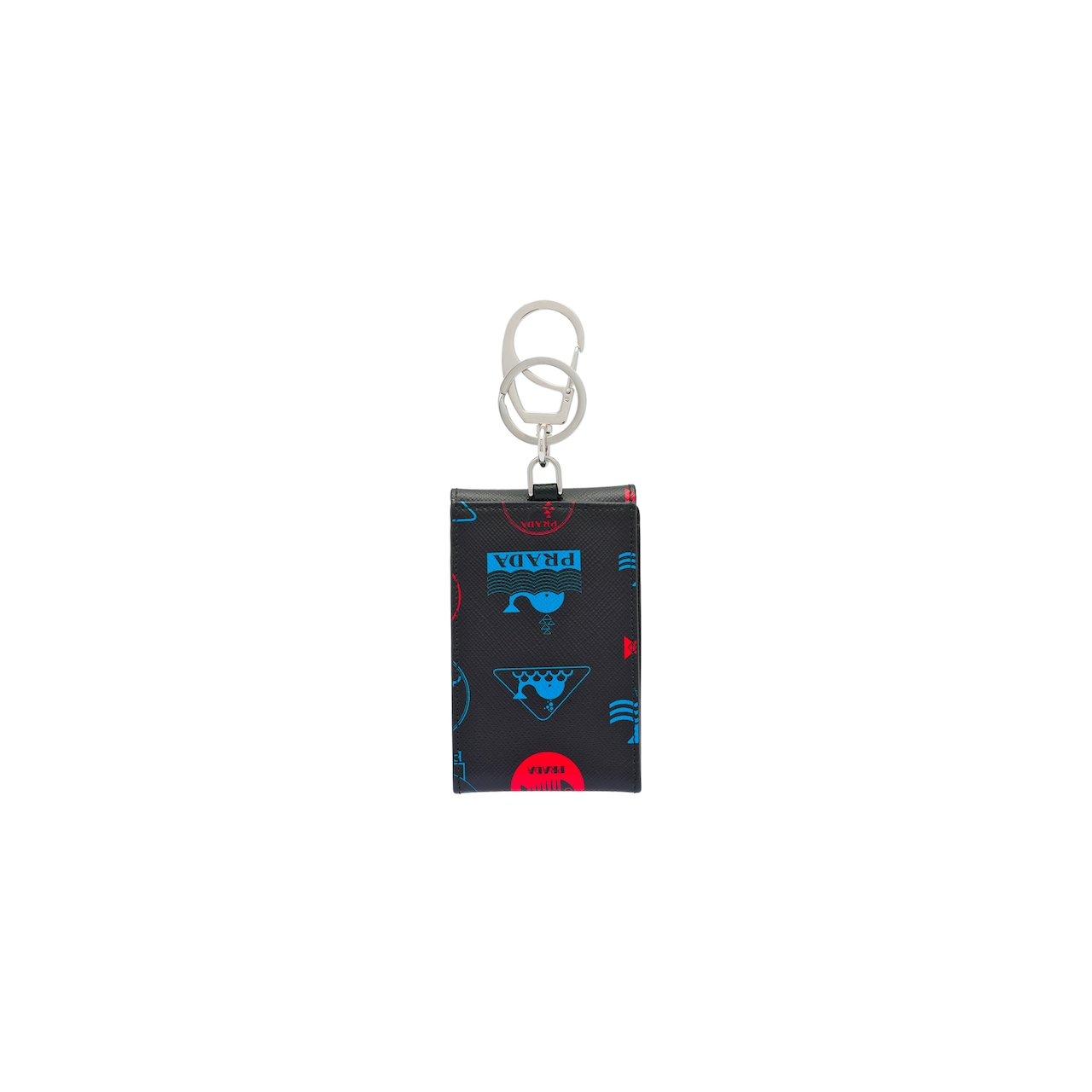 Printed Saffiano leather keychain trick