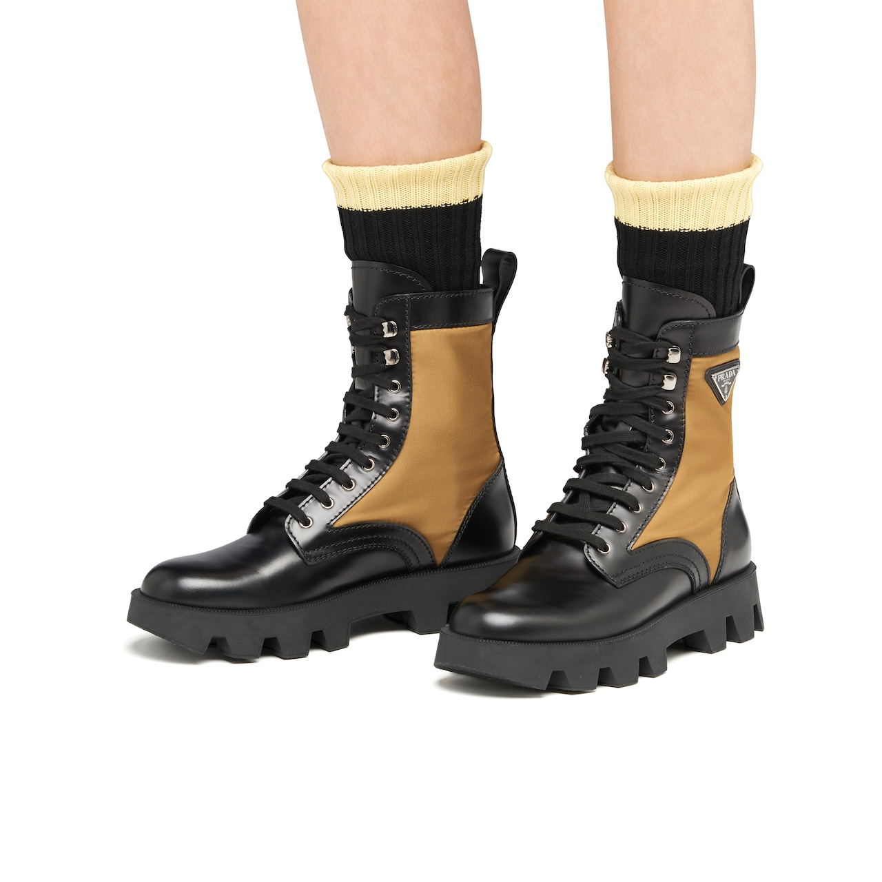 Prada Rocksand Leather And Technical Fabric Booties 3