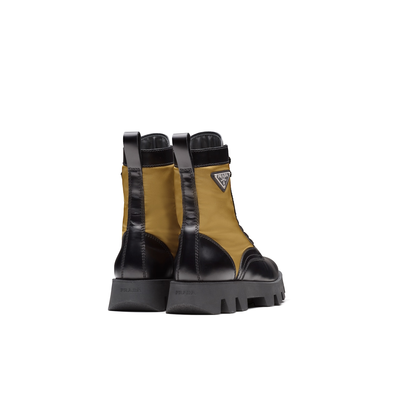 Prada Rocksand Leather And Technical Fabric Booties 5