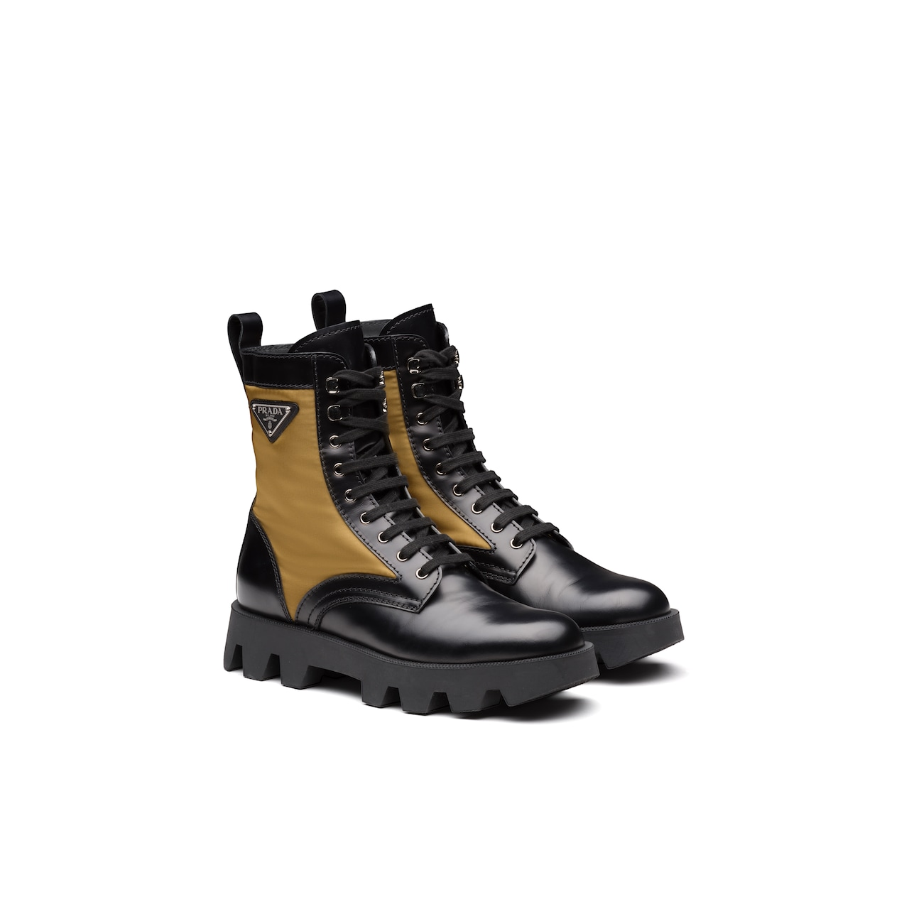 Prada Rocksand Leather And Technical Fabric Booties 1