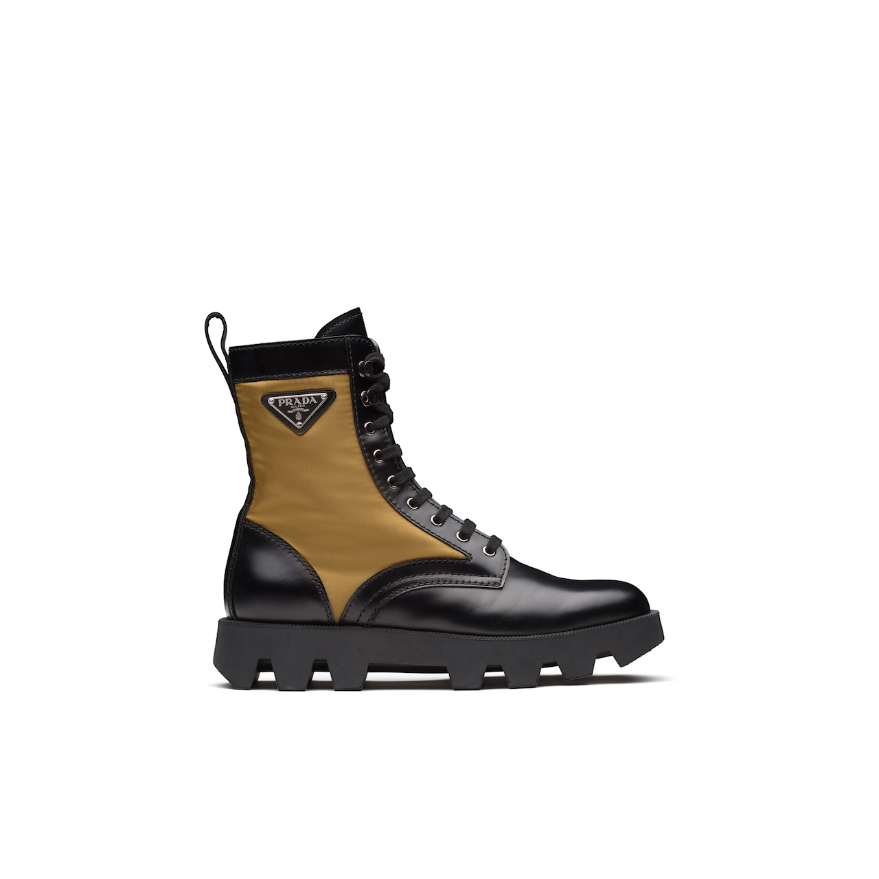 Prada Rocksand Leather And Technical Fabric Booties 4