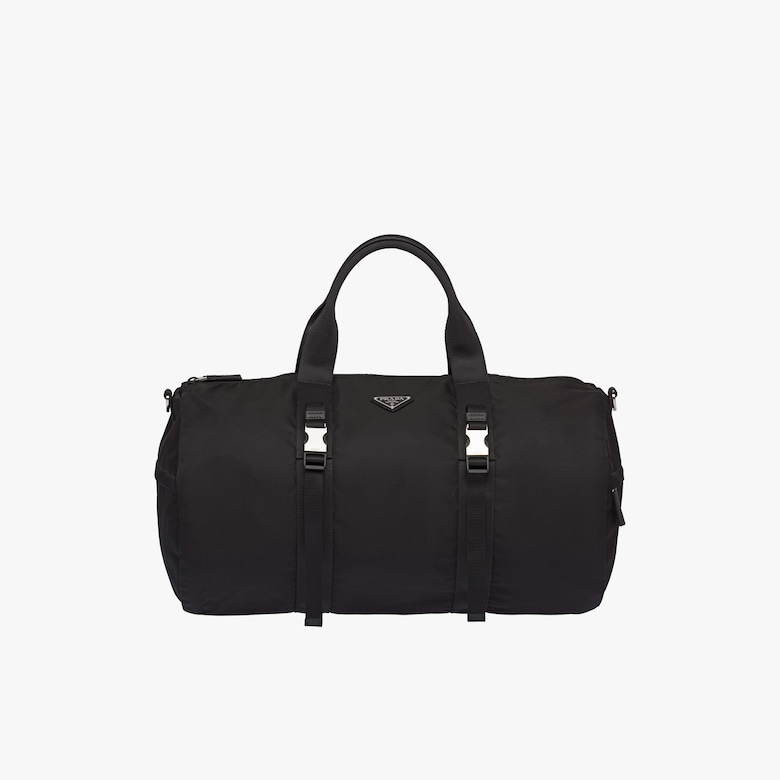 Nylon and Saffiano leather duffel bag