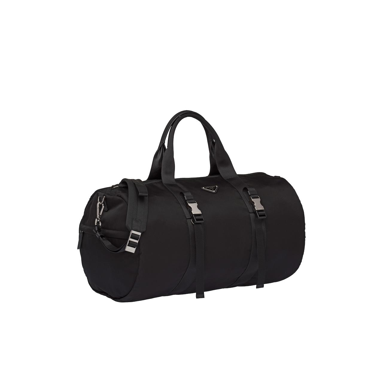Nylon and Saffiano leather duffel bag
