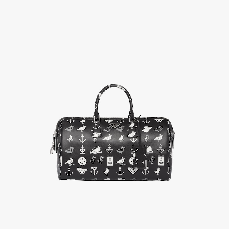 Printed Saffiano leather travel bag