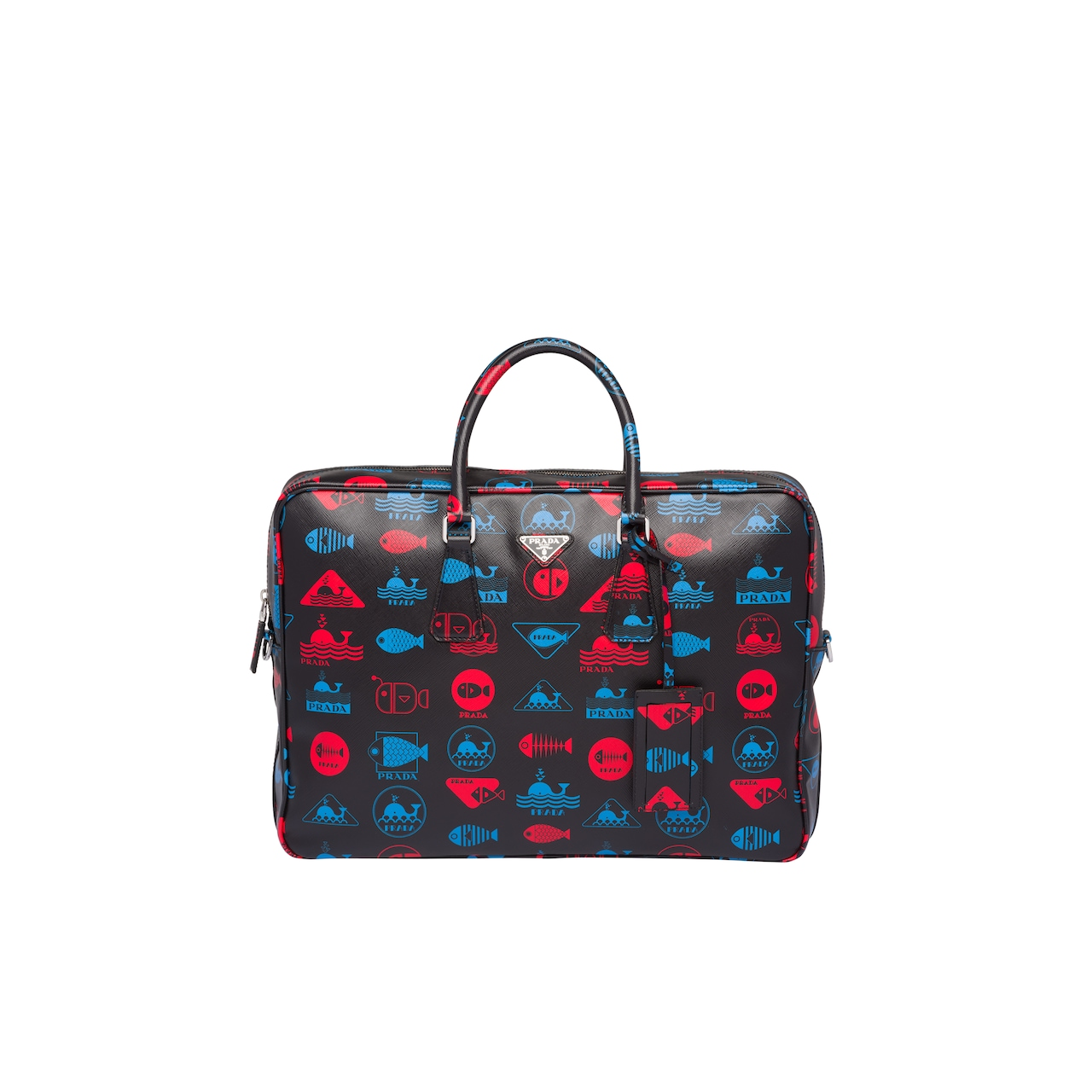 Printed Saffiano leather briefcase