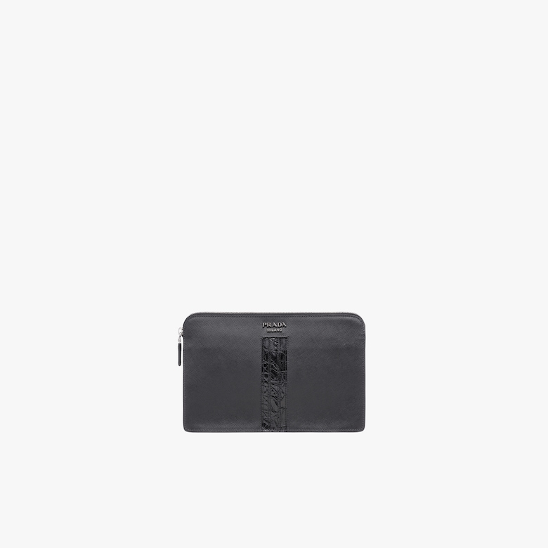 Prada Saffiano Leather Clutch - Man