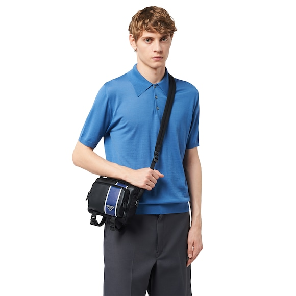 Technical fabric and leather bandoleer bag