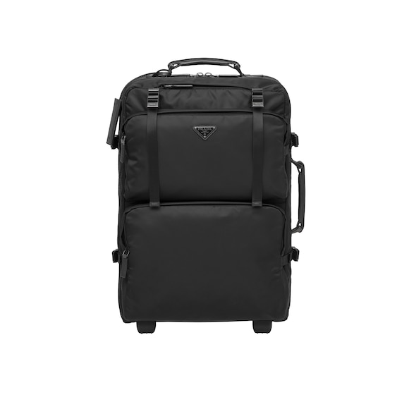 Nylon and Saffiano leather trolley