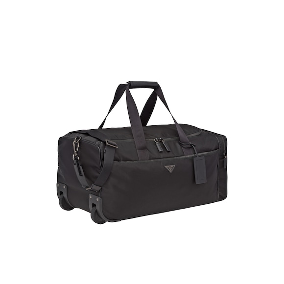 Nylon and Saffiano leather wheeled carry-on