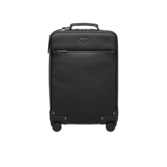 Saffiano leather wheeled carry-on