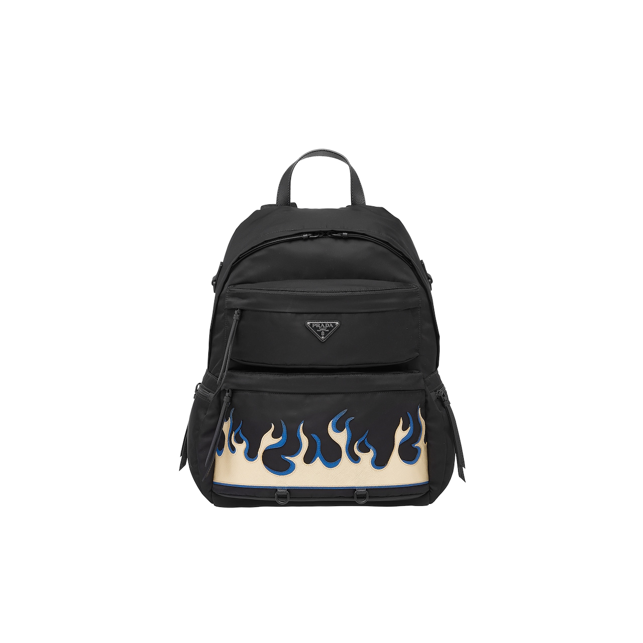Nylon backpack with Saffiano leather inserts
