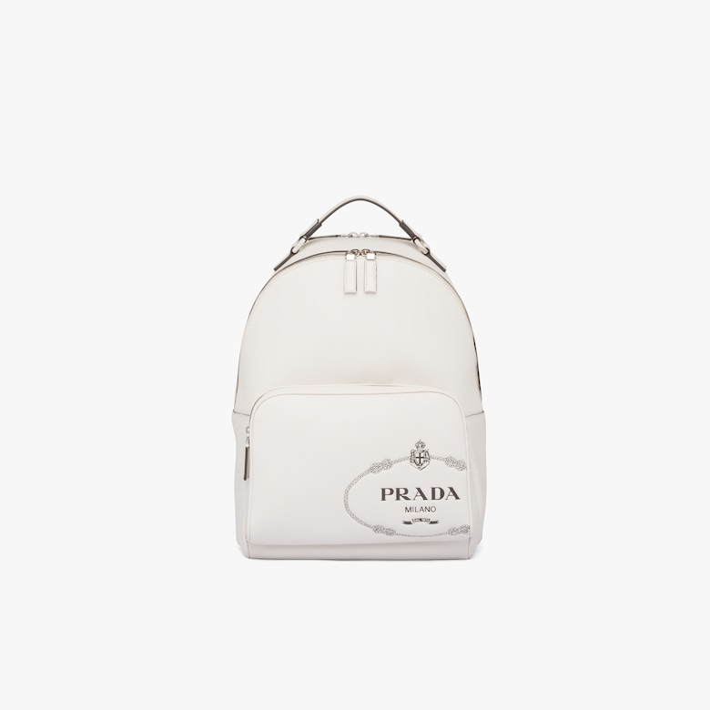 Printed Saffiano leather backpack