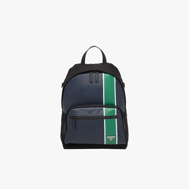 Technical fabric and leather backpack