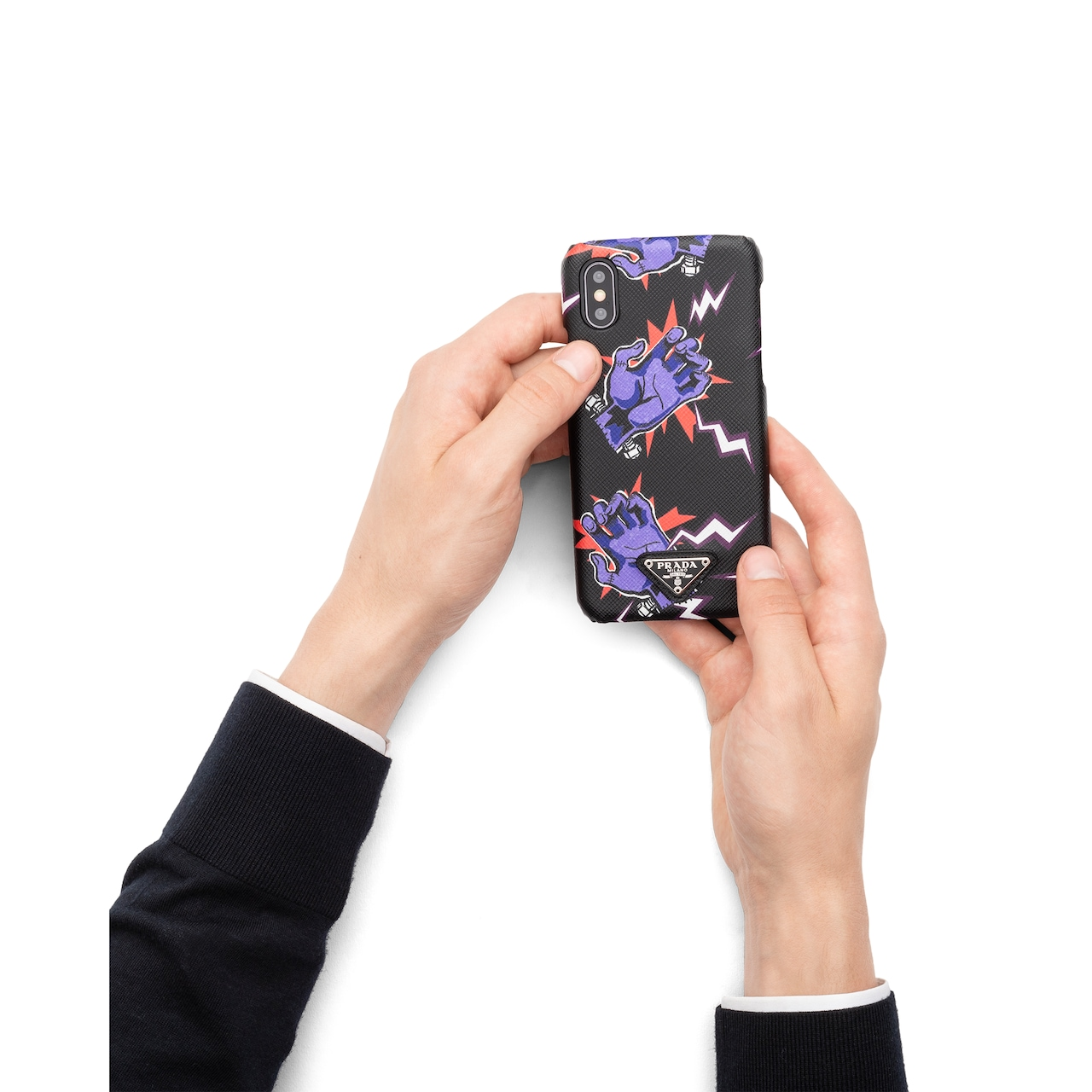 Saffiano leather cover for iPhone X and XS