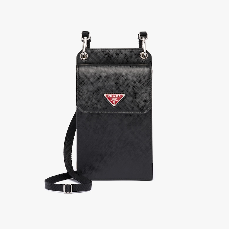 Prada Saffiano 皮革手机包 - 男士