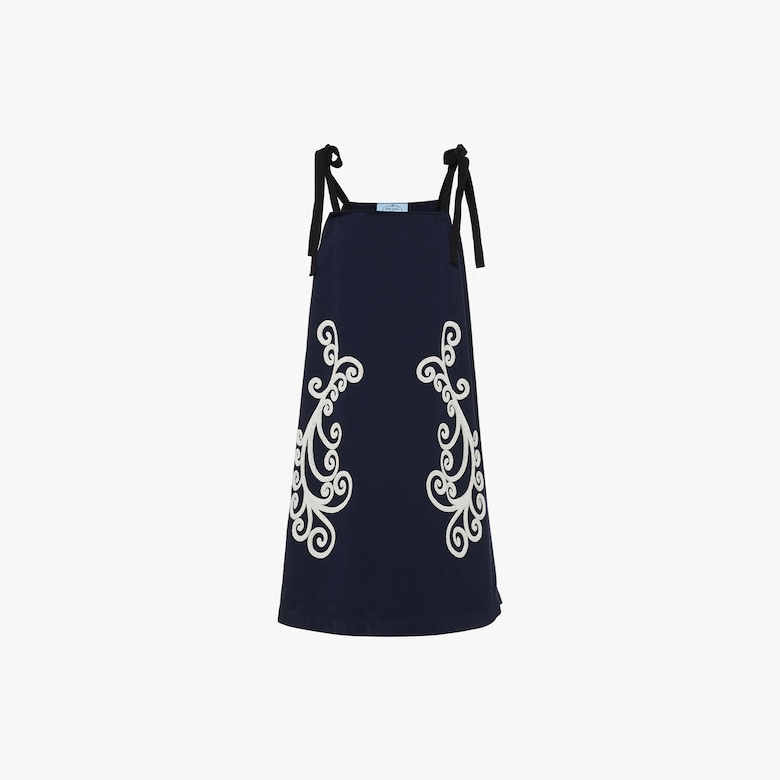 Prada Cotton jersey dress with beaded embroidery - Woman