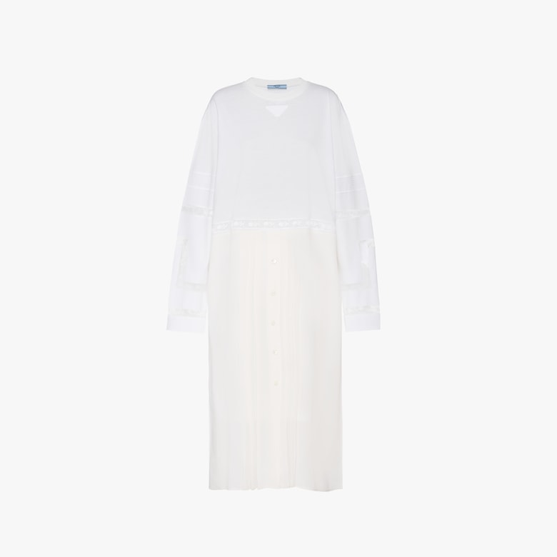 Prada Cotton jersey and crepe de chine dress with lace - Woman