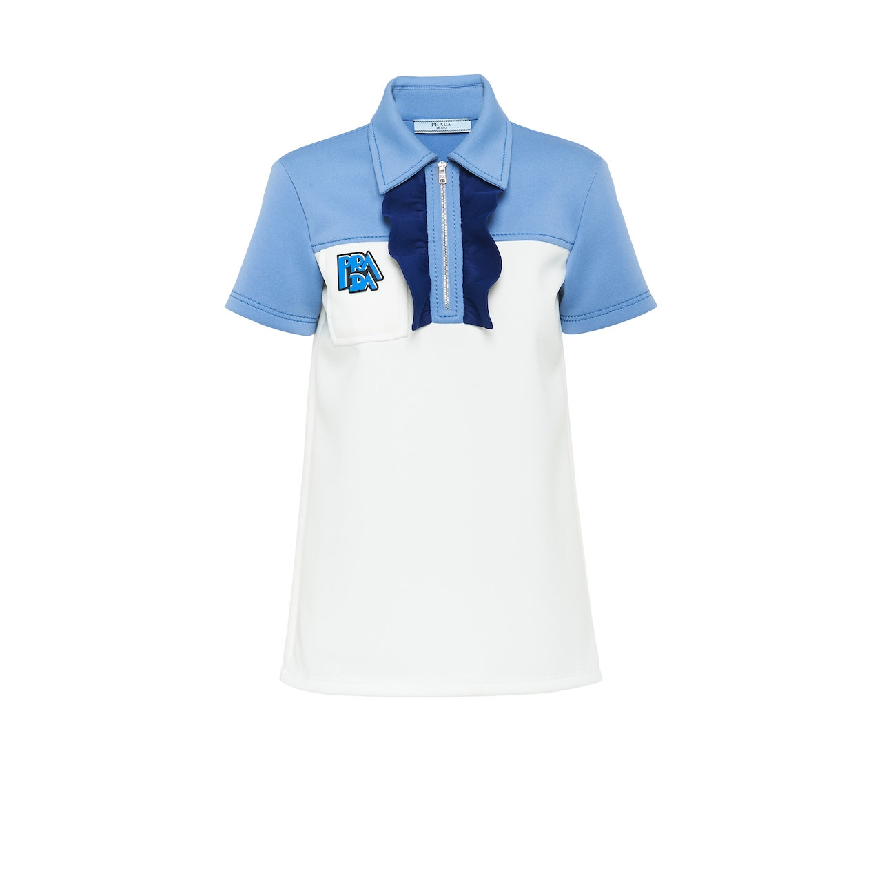 Technical jersey polo shirt with ruching