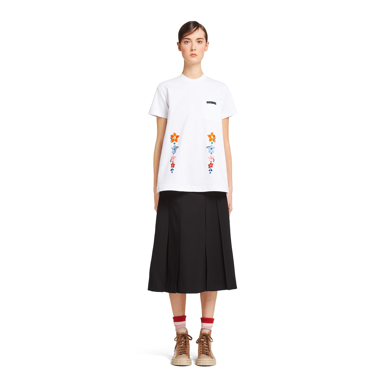 Prada Cotton jersey T-shirt with embroidery 2