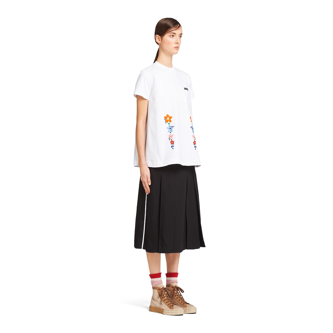 Prada Cotton jersey T-shirt with embroidery 3
