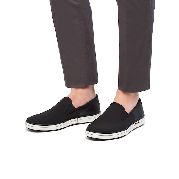 Prada Badge Gabardine Fabric Slip-On Sneakers 2