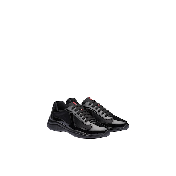 Patent leather and technical fabric sneakers