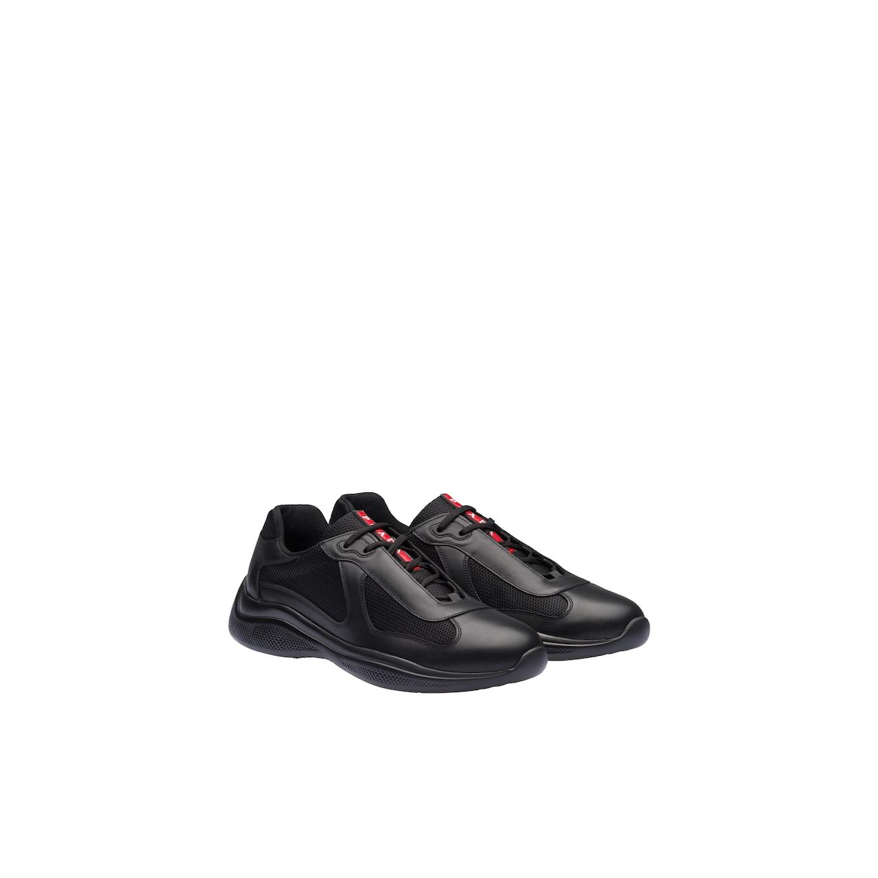 Prada 皮革和织物运动鞋 1