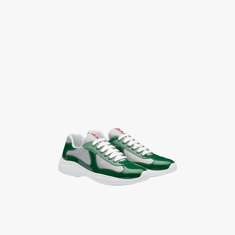 Prada New America'S Cup Patent Leather And Technical Fabric Sneakers - Man