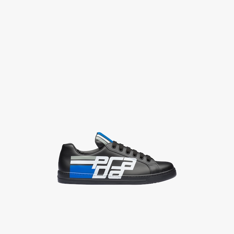 Leather sneakers with graphic logo