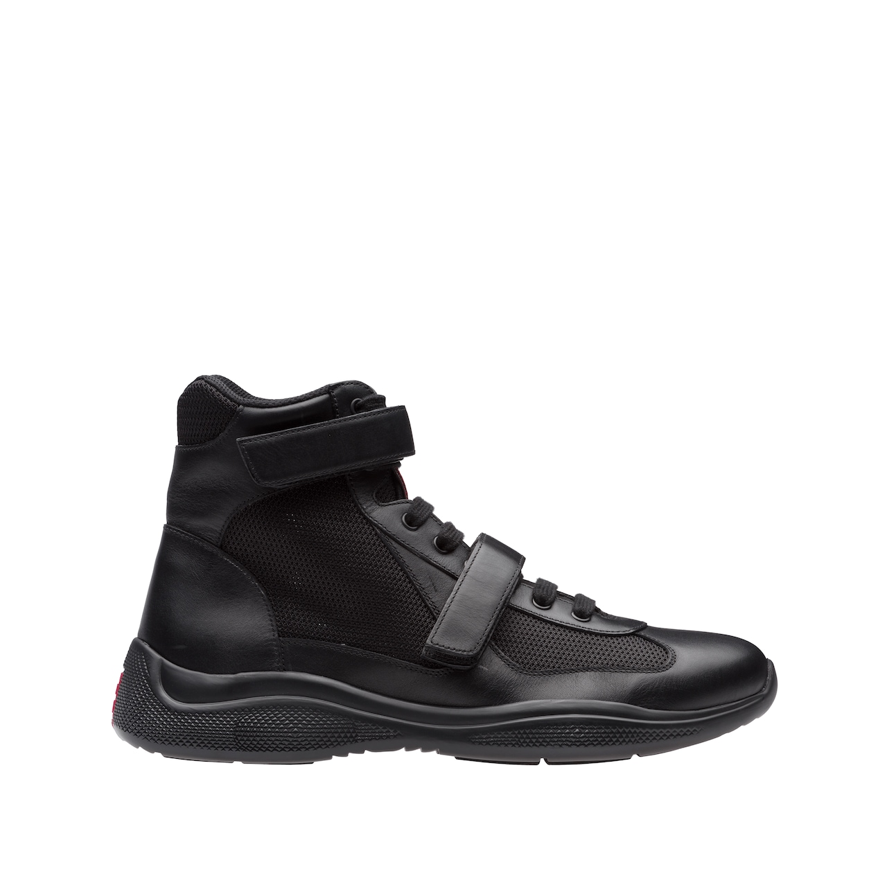 Leather and fabric high-top sneakers