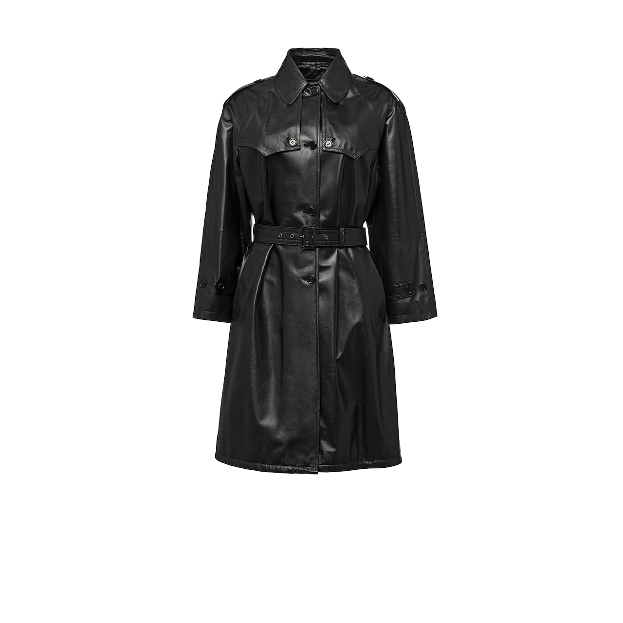 Light nappa leather trench coat