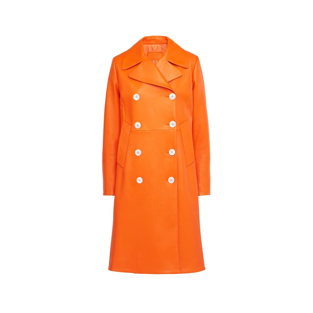 Prada Double-breasted nappa leather coat 1