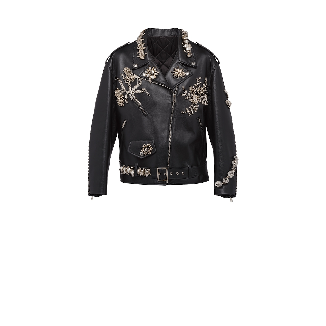 3533a2b296780 Embroidered Studded Leather Biker Jacket