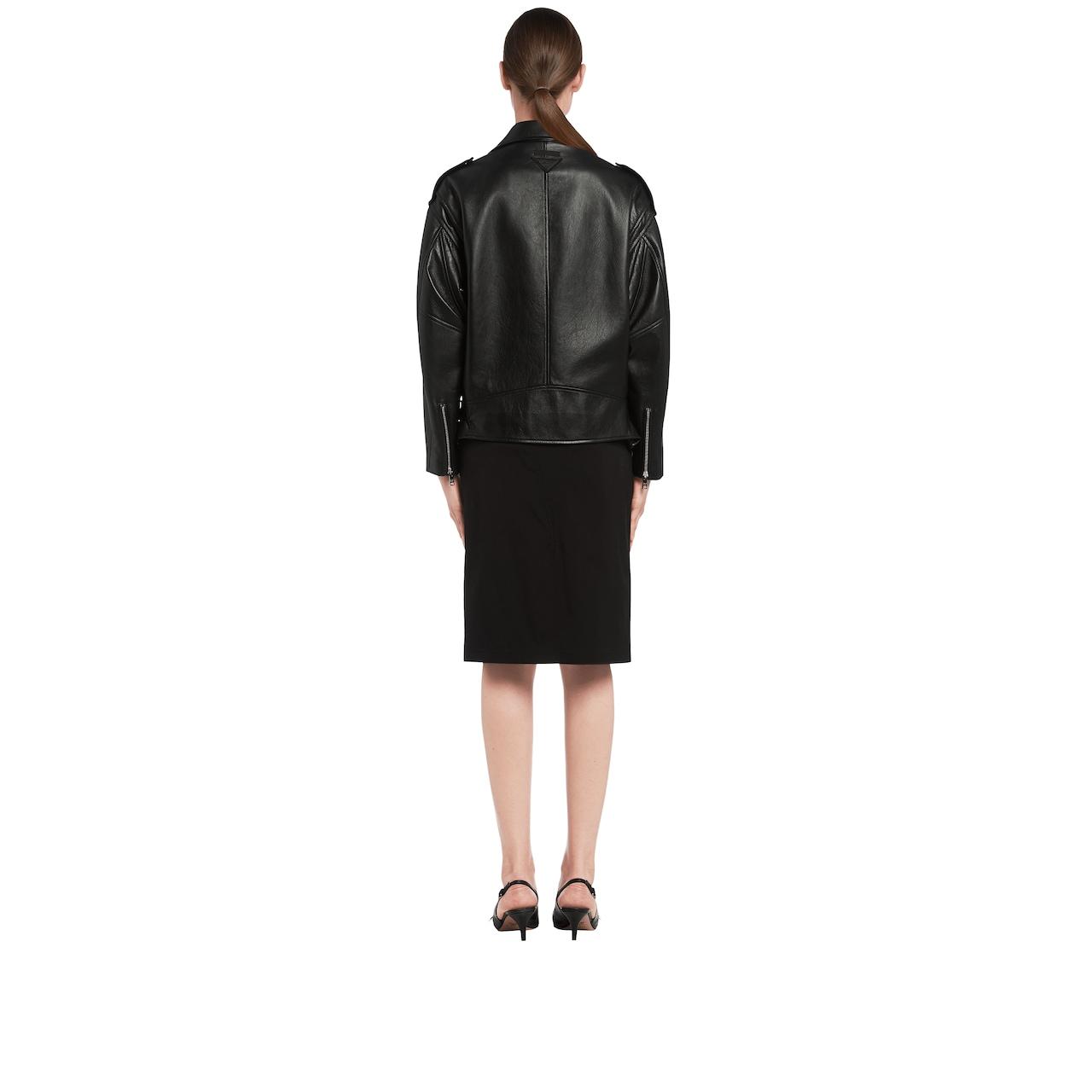 Opaque nappa leather biker jacket