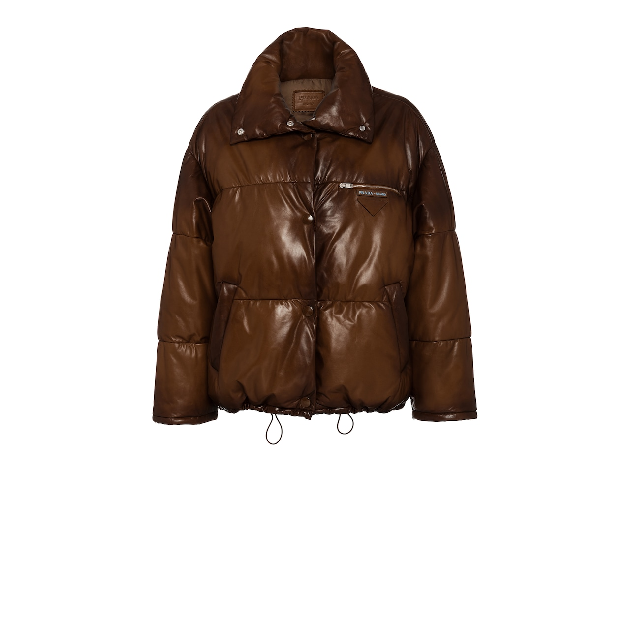 Waxed nappa leather puffer jacket